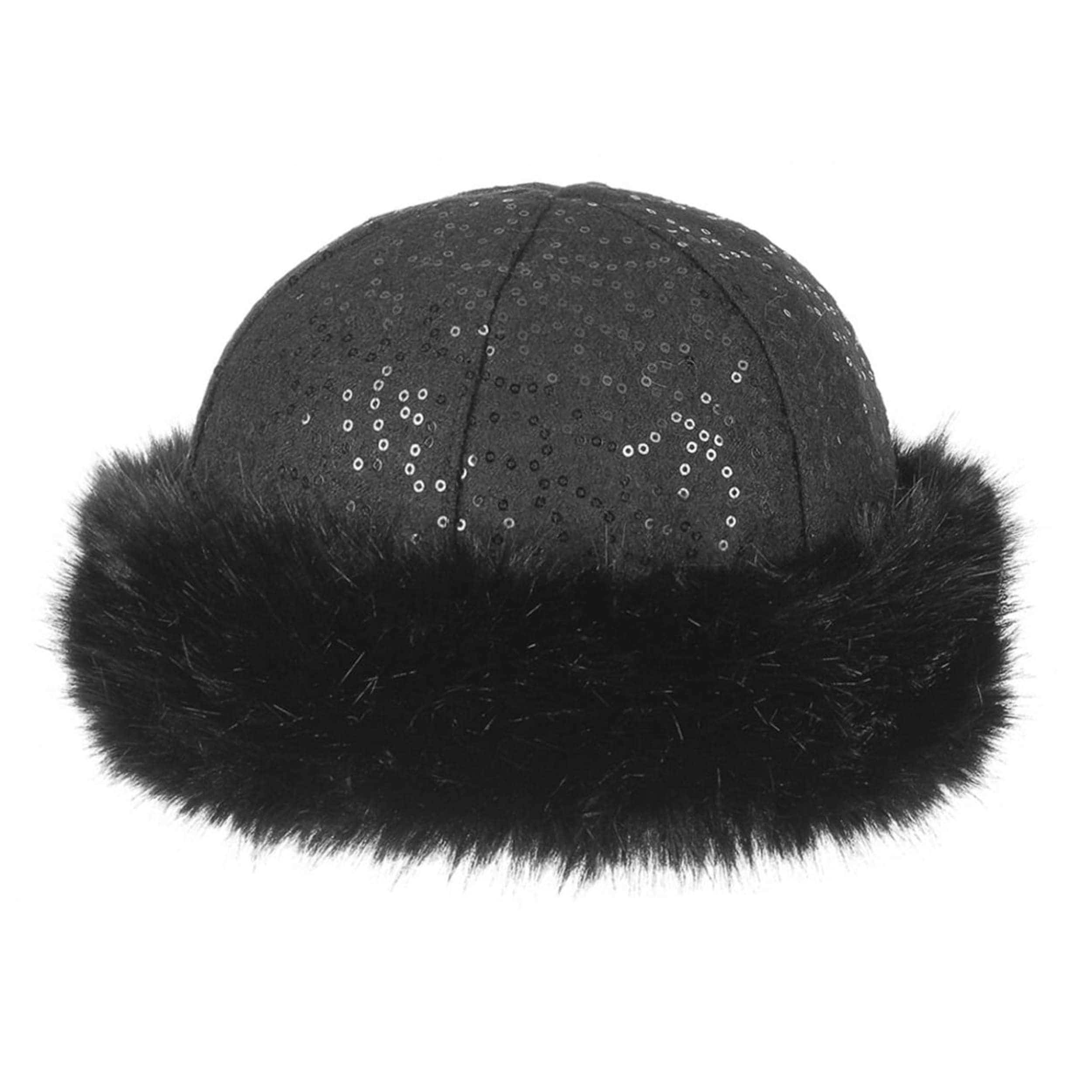 Sequined Hat with Faux Fur Brim by Gebeana